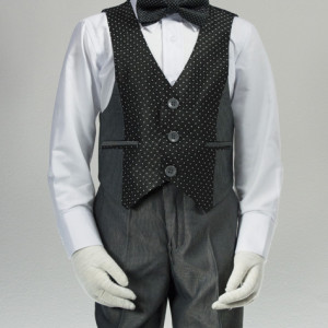 Silver tuxedo with black polka dot trim
